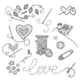 Vectorreeks van het naaien van hulpmiddelen Royalty-vrije Stock Afbeelding
