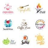 Vectorreeks van het ontwerp van het restaurantembleem Ecovoedsel, wijn, sushi, cupcakes, makarons, koffie en grillpictogram Het p stock illustratie