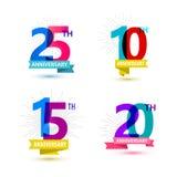 Vectorreeks van het ontwerp van verjaardagsaantallen 25, 10 Royalty-vrije Stock Foto's