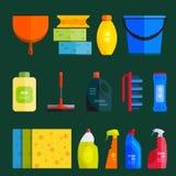 Vectorreeks van het schoonmaken van hulpmiddelen Vlakke ontwerpstijl Stock Foto