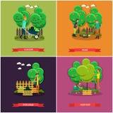 Vectorreeks van het tuinieren, de affiches van het de landbouwconcept, banners, vlak ontwerp vector illustratie