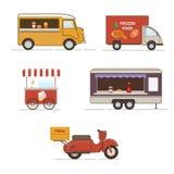 Vectorreeks van het vervoer van het straatvoedsel Stock Foto's