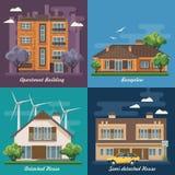 Vectorreeks van illustratie met gebouwen, losgemaakt huis, semi-detached huis, bungalow, herenhuis, high-rise de bouw stock illustratie