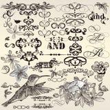 Vectorreeks van kalligrafische uitstekende ontwerpelementen en paginadeco Stock Afbeelding