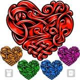 Vectorreeks van Keltisch patroon in de vorm van hart Stock Foto