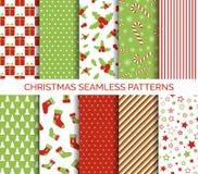 Vectorreeks van Kerstmis de naadloze patronen Royalty-vrije Stock Afbeelding