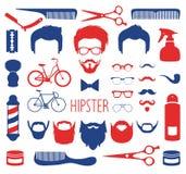 Vectorreeks van kleding omhoog met verschillende mensen hipster kapsels, glazen enz. in vlakke stijl App de schepper van mensenge stock illustratie
