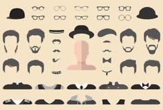 Vectorreeks van kleding op aannemer met verschillende glazen, baard, snor, slijtage in vlakke stijl De mannelijke schepper van he Stock Foto's