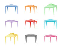 Vectorreeks van kleur die tenten vouwen Royalty-vrije Stock Afbeeldingen