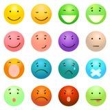 Vectorreeks van 16 Kleurrijke Emoticons Royalty-vrije Stock Afbeeldingen