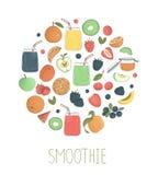 Vectorreeks van kleurrijke fruit en bes smoothies in glaskruiken met fruit en bessen die in cirkel worden ontworpen royalty-vrije illustratie
