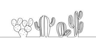 Vectorreeks van Leuke Cactus ononderbroken Installaties van het de Schetshuis van de lijntekening de Zwart-witte Geïsoleerd op Wi royalty-vrije illustratie