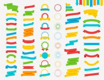 Vectorreeks van lint, toekennings en zonnestraal kleurrijke vlakke stijlreeks stock illustratie