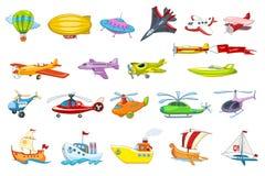 Vectorreeks van lucht en watervervoerillustratie Royalty-vrije Stock Foto