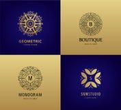 Vectorreeks van luxemonogram, uitstekende emblemen De abstracte pictogrammen van het cirkelornament voor schoonheidsmiddelen, hot stock illustratie