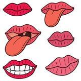 Vectorreeks van mond en tong stock illustratie