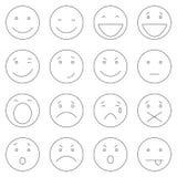 Vectorreeks van 16 Overzicht Emoticons Stock Foto