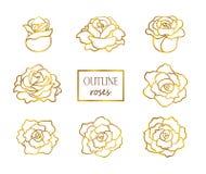 Vectorreeks van overzichts gouden rozen, zij en hoogste mening stock foto's