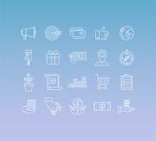 Vectorreeks van 20 pictogrammen en teken in monolijnstijl Stock Foto's
