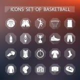 Vectorreeks van pictogrammenbasketbal in vlakke stijl royalty-vrije illustratie