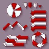 Vectorreeks van pijlen en diagram voor infographic Royalty-vrije Stock Afbeelding