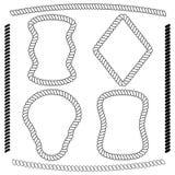 Vectorreeks van rechthoekige kader en borstel van kabel Royalty-vrije Stock Foto