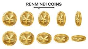 Vectorreeks van renminbi 3D Gouden Muntstukken Realistische illustratie Flip Different Angles Geld Front Side Het Concept van de  Stock Afbeelding