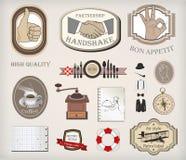 Vectorreeks van retro etiketten en materiaal Stock Afbeeldingen