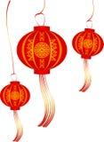 Vectorreeks van rode Chinese lantaarns cirkelvorm Royalty-vrije Stock Fotografie