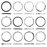 Vectorreeks van ronde gemaakte kaders onzorgvuldige vorm en textuur grunge Stock Foto