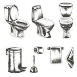 Vectorreeks van schetsillustratie op een wit toilet als achtergrond Royalty-vrije Stock Fotografie
