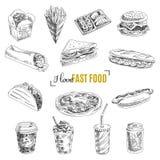 Vectorreeks van snel voedsel Illustratie in schets Royalty-vrije Stock Afbeeldingen