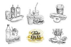 Vectorreeks van snel voedsel Illustratie in schets Stock Fotografie
