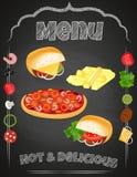 Vectorreeks van Snel Voedsel op het bord Royalty-vrije Stock Foto's
