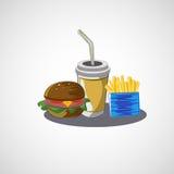 Vectorreeks van snel voedseldrank, hamburger, gebraden gerechten Royalty-vrije Stock Afbeelding