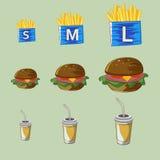 Vectorreeks van snel voedseldrank, hamburger, gebraden gerechten Royalty-vrije Stock Afbeeldingen