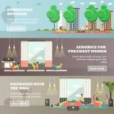 Vectorreeks van sportactiviteit voor de zwangere banners van het vrouwenconcept stock illustratie
