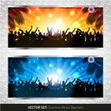 Vectorreeks van twee banners van de de zomermuziek Stock Foto's