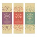 Vectorreeks van uitstekend sier de bannersontwerp van kader bloemenmalplaatjes Stock Foto's