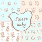 Vectorreeks van vier naadloze patronen van de babyjongen Achtergrond voor gelukkige verjaardag of uitnodigingskaart royalty-vrije illustratie