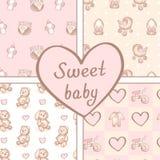Vectorreeks van vier naadloze patronen van het babymeisje Achtergrond voor gelukkige verjaardag of uitnodigingskaart royalty-vrije illustratie