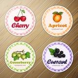 Vectorreeks van vier ronde etiketten, kers, abrikoos, kruisbes, bes eigengemaakte jam op een houten achtergrond vector illustratie