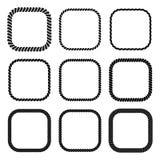 Vectorreeks van vierkant zwart zwart-wit kabelkader Stock Afbeeldingen