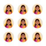 Vectorreeks van vlak illustratie Indisch meisje Stock Foto's
