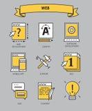 Vectorreeks van vlak lijn creatief proces, ontwerpproces, Web PR Stock Foto