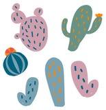 Vectorreeks van vlakke cactus Stock Foto's