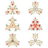 Vectorreeks van zes bloemenelementen Stock Afbeelding