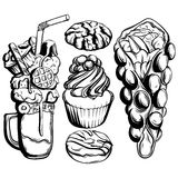 Vectorreeks van zoet voedsel vector illustratie