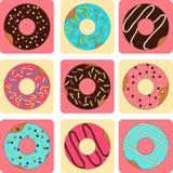 Vectorreeks van zoete donuts vlakke stijl stock illustratie