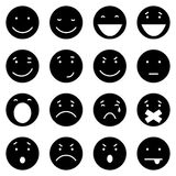 Vectorreeks van 16 Zwarte Emoticons Royalty-vrije Stock Afbeelding